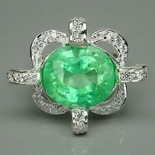 CLASSY  GREEN EMERALD & WHITE SAPPHIRE STERLING 925 SILVER RING SIZE 6.25