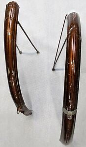 "Vintage Raleigh Bicycle Front And Rear Fenders Bronze Fits a 26"" Wheel"