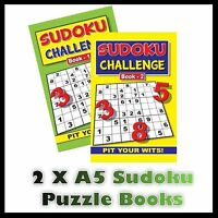 2 X A5  Sudoku Challenge Puzzle Book Books 196 Puzzles A5 Pages Super Trivia Uk