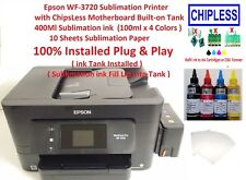 Sublimation Epson WF-3720 Printer with ChipsLess Motherboard Built-on Tank & ink