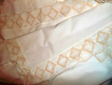 """Fabric Tablecloth Off-White Rectangle 64"""" x 86"""" w/Gold and White Lace Border-Wow"""