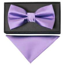 Plain Lilac Hand Made Mens Bow Tie and Handkerchief Set Dickie Bow And Hanky