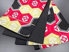Vintage Japanese Black/Red/Gold/Silver Brocade Fukuro-Obi 'Floral Hexagons'