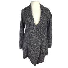 Motherhood Maternity Women S Marled 2 Button Sweater Shawl Collar LS Gray White