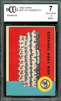 1963 Topps #247 New York Yankees Team Card BGS BCCG 7 Very Good+