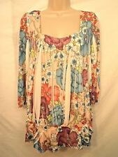 Blouse Top XL Beige Pastel Multi Color Artsy Floral Simply Irresistible
