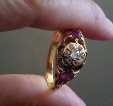 Very Old Antique 18ct Gold Diamond and Ruby Flower Ring - large ring size Z