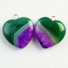 2Pcs Purple Green Druzy Geode Agate Heart Pendant Bead 20x7mm D43870