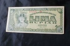 Indonesie - old banknote - 5 Rupiah 1947 Sukarno first ussue schaars p (koe 236