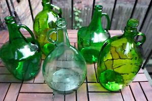 Vintage Green Glass Jug | Demijohn Carboy Wine Jug | Farmhouse Style Vase
