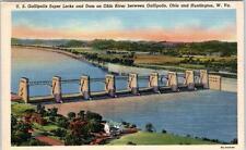 HUNTINGTON, West Virginia  WV   GALLIPOLIS SUPER LOCKS, Dam OH  c1940s  Postcard