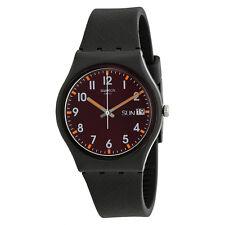Swatch Sir Red Brown Dial Black Rubber Unisex Watch GB753-AU