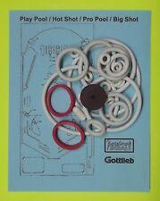 Gottlieb Play Pool / Hot Shot / Pro Pool / Big Shot rubber ring kit