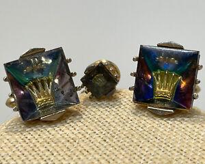 Vintage Swank Cuff Links & Tie Tac Crown Aurora Borealis Glass Gold Tone