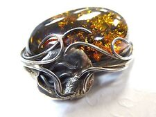 Vintage Hugh Natural Amber and Sterling Silver Ladies Pendant 40-mm by 30-mm