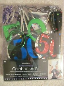 NEW ALL IN ONE 50th BIRTHDAY PARTY CELEBRATION KIT 6 PIECES GLASSES HAT SASH
