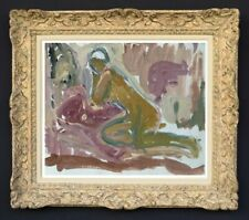 RAYA SAFIR (1909-2004) PEINTURE FAUVISTE SUPERBE NU DANS L'ATELIER 1950 (242)