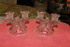 Vintage Art Deco Glass Candlestick Holders-Pair-Each Holds 2 Candles-Clear Glass