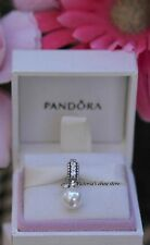 Authentic Pandora Luminous Elegance Charm with White Pearl and Clear CZ#791871P