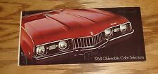 Original 1968 Oldsmobile Color Selections Brochure 68 Toronado Cutlass