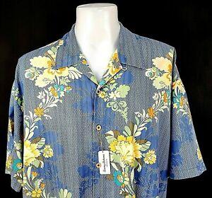 """TOMMY BAHAMA Mens Silk Blue HAWAIIAN S/S SHIRT U/U/Soft - 2XL (3XL) - 58"""" - £109"""