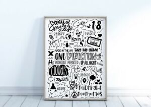 One Direction Doodle Print Wall Art