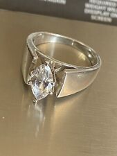 Ring Wedding Engagement Size 9.75 6.4g Lg Vintage Sterling Silver 925 Marquee