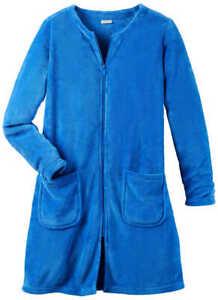 Hauskleid kurzer Bademantel blau 36/38