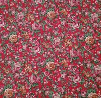 Country Florals BTY Unbranded Calico Flowers Pink Wine Gold Green on Red