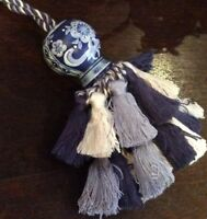 Shabby Chic French Country Tassel Tassle Hand Painted Blue & White - Curtains