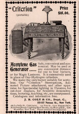 AD LOT OF 2 1898 ADS  COLT CO CRITERION ACETYLENE GAS GENERATOR OXY HYDROGEN