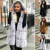Womens Faux Fur Waistcoat Gilet Jacket Coat Sleeveless Outwear Warm Vest Coat US
