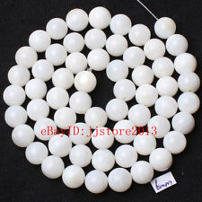 6mm Pretty Natural White Shell MOP Round Shape Gemstone Loose Beads Strand 15""