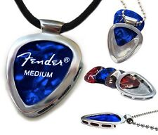 PICKBAY Guitar PICK Necklace PICK Holder Pendant w Leather Cord Hypoallergenic