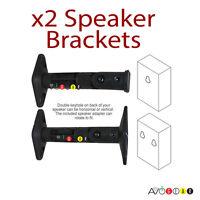 2 Universal Speaker Wall Bracket Swivel Tilt Black New