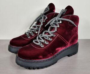 Prada Velvet Hiking Boots, Bordeaux, Womens Size 10.5 / 40.5   $750
