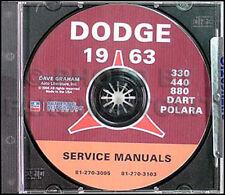 1963 Dodge Auto CD Shop Manuale Dart Polara 330 440 880 Gt 170 270 Servizio