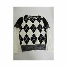 Lili Gaufrette Girls Black White Argyle Long Sleeve Sweater 10
