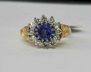 18ct Gold Tanzanite And Diamond 13 Stone Cluster Ring