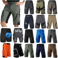 Men's Cycling Shorts Mountain Bike MTB Bicycle Shorts Zip Pockets Padded Pants