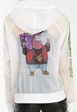 Women's White Spongebob X Mina Kwon Patrick Star Nylon Hoodie Small Zip