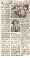 Herbert Lom 95 Obituary New York Times Inspector Clouseau's Boss Pink Panther