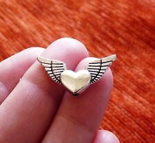 10x Angel Wing Spacer Beads Heart Charms for Bracelet Necklace Beading Supplies