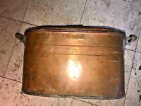 Primitive Copper WASH TUB/Boiler~w/ Lid-ATLANTIC Vintage~Perfect For Firewood