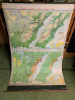 Vintage 1945 Denoyer-Geppert Pull Down Cloth Wall Map A7 Western Movement