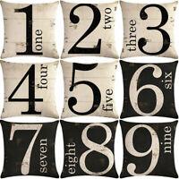 "18"" Cotton Linen Number Pattern Cushion Cover Pillow case Home Decor"