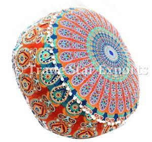Large Mandala Ottoman Pouf Cover Cotton Bean Bag Cover Round Boho Footstool Case