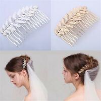 Vintage Leaf Crystal Diamante Hair Comb Bridal Wedding Slide Hairpins Accessory