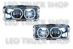 Peterbilt 378 379 Full LED Headlight Black with Trims and Signal A Pair|LH+RH