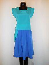 Vintage 1980s Blue Skirt & Aqua Blouse Set by PBJ Sport